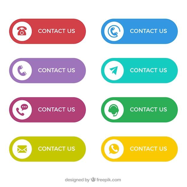 Het verzamelen van kleurrijke contact knoppen Gratis Vector