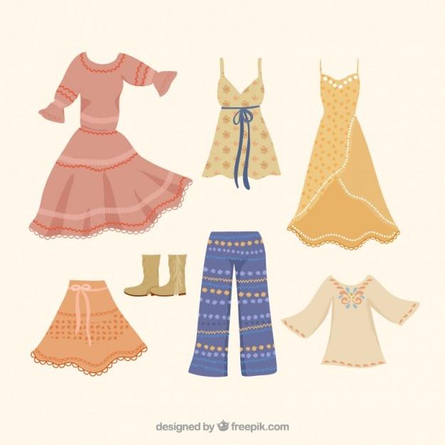 Het verzamelen van modieuze kleding boho Gratis Vector