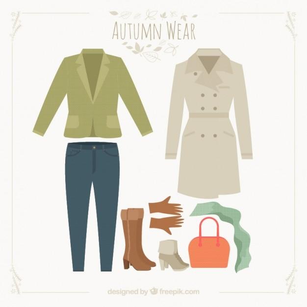 Het verzamelen van outfit voor de herfst Gratis Vector