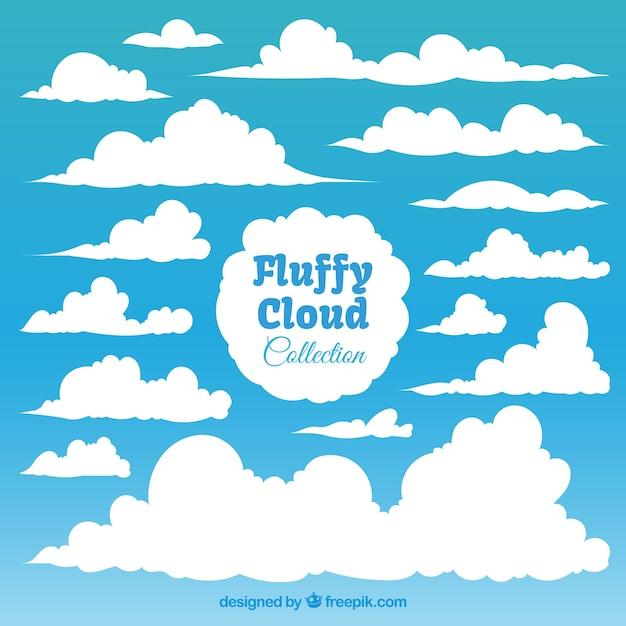 Het verzamelen van pluizige witte wolken Gratis Vector