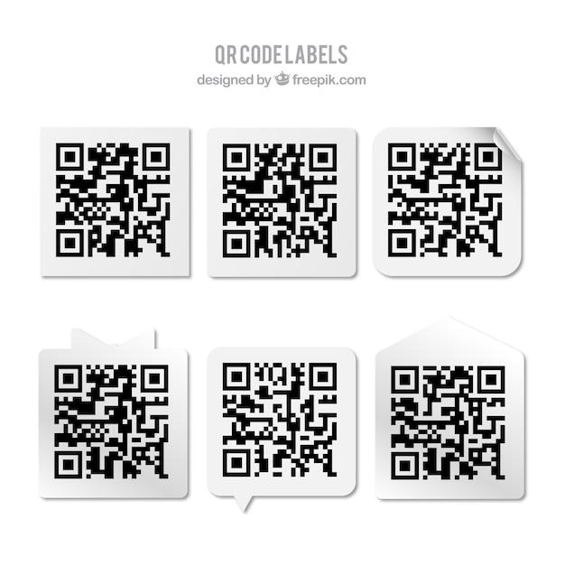 Het verzamelen van qr code stickers Gratis Vector