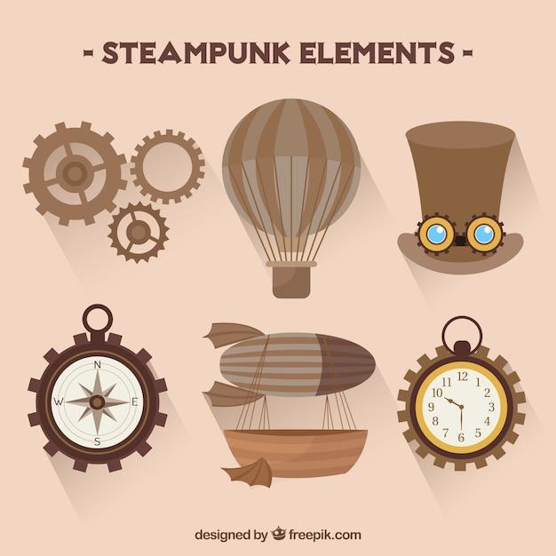 Het verzamelen van steampunk-elementen Gratis Vector