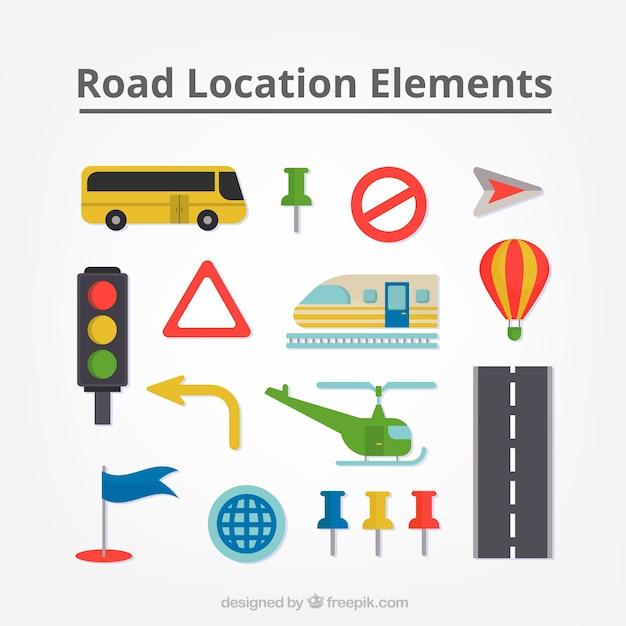 Het verzamelen van transporten en verkeersborden Gratis Vector