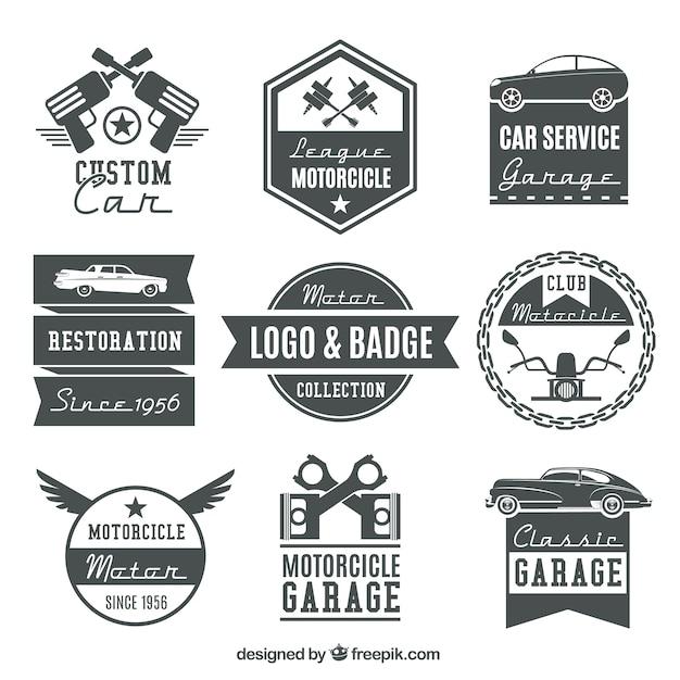 Het verzamelen van vintage motorfiets logo's en badges Gratis Vector