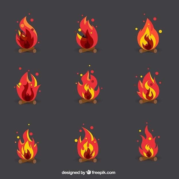 Het verzamelen van vlammen Gratis Vector