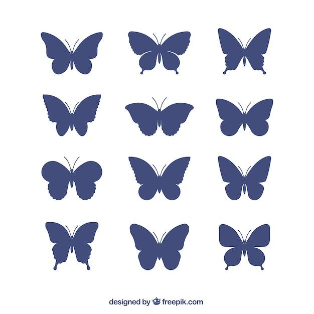 Het verzamelen van vlinders silhouetten Gratis Vector