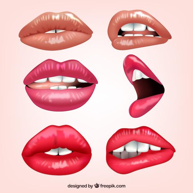 Het verzamelen van vrouwelijke lippen met verschillende uitdrukkingen Gratis Vector