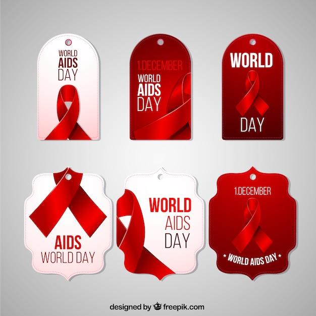 Het verzamelen van wereld aids dag-tags Gratis Vector