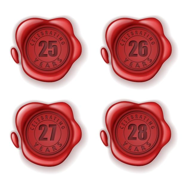 Het vieren van 25-28 jaar wax-seal van de wenskaart Premium Vector