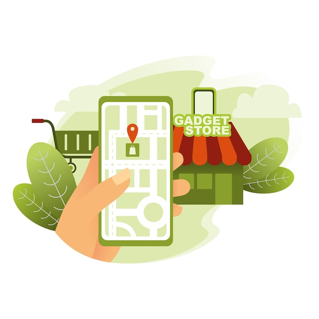 Het vinden van gadgetopslag met kaarten op smarthpone illustratie Premium Vector