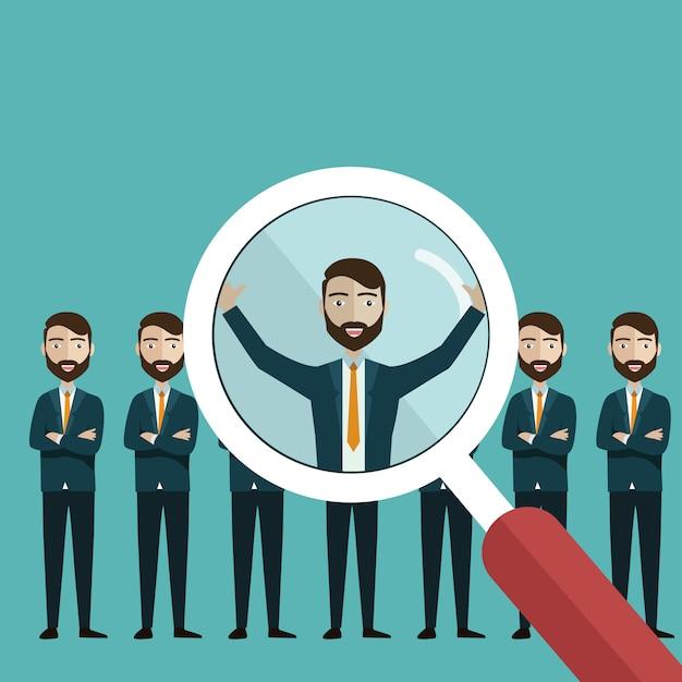 Het vinden van professionele medewerkers met een vergrootglas Premium Vector