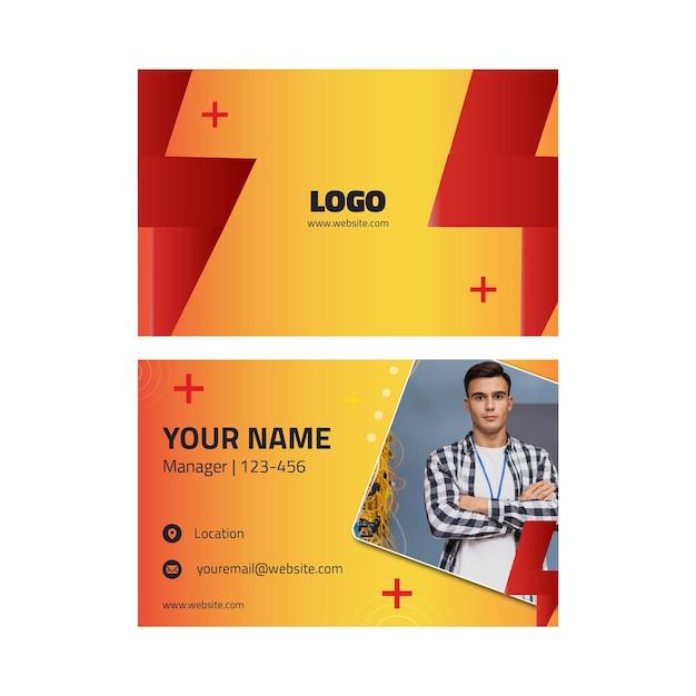 Het visitekaartje van het de advertentiesjabloon van de elektricien Premium Vector
