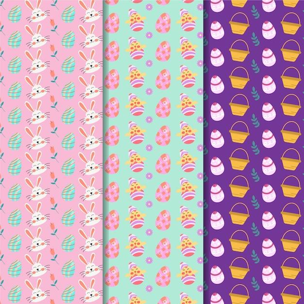 Het vlakke naadloze patroon van ontwerppasen met konijntjesavatars Gratis Vector