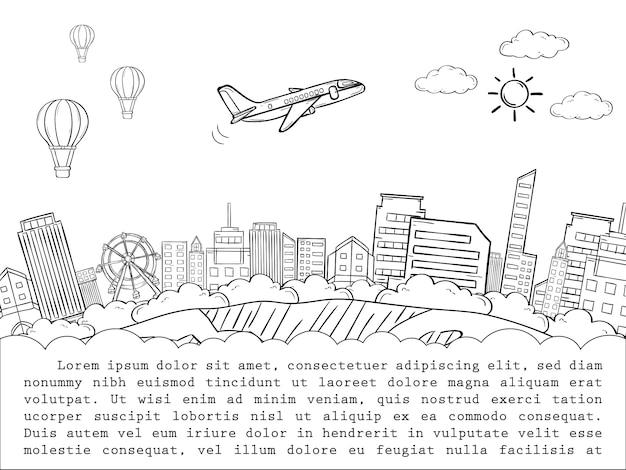 Het vliegtuigcontrole van de krabbel binnen puntreis rond het wereldconcept Premium Vector