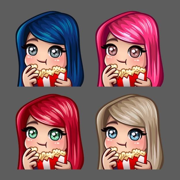 Het vrouwelijke wijfje van emotiepictogrammen eet popcorn met lange haren voor sociale netwerken en stickers Premium Vector