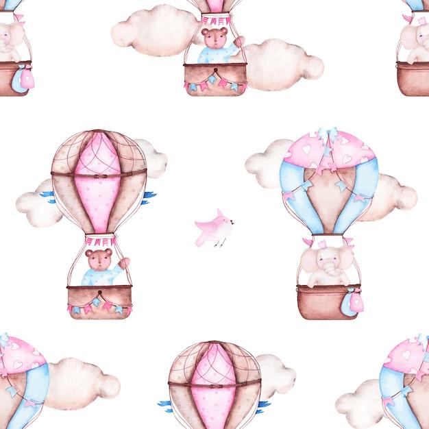 Het waterverf naadloze patroon met hete luchtballon draagt olifantsvogels Gratis Vector