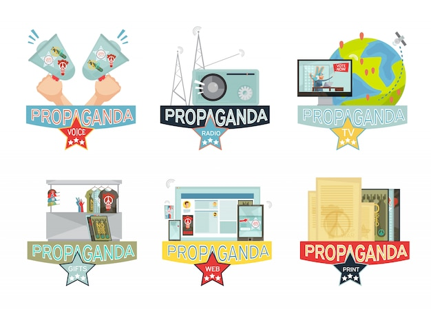 Het web van de stem massa-media en gifs propagandapictogrammen geplaatst die op witte achtergrond worden geïsoleerd Gratis Vector