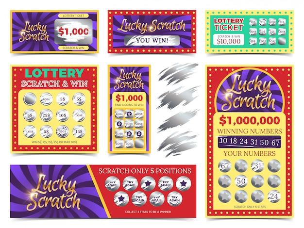 Het winnen van lottokaarten en vectorreeks van kraskaarten Premium Vector