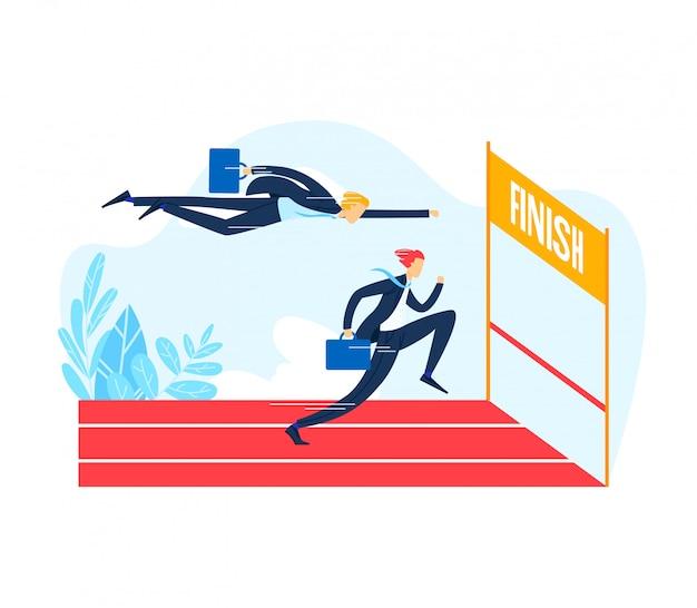 Het zakenmankarakter het lopen finishlijn, het mannetje vlucht het openluchtbedrijf van de de tredmolenconcurrentie, concurrent op witte, vlakke illustratie wordt geïsoleerd die. Premium Vector