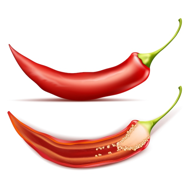 Hete chili peper, geheel en half, geïsoleerd op de achtergrond Gratis Vector