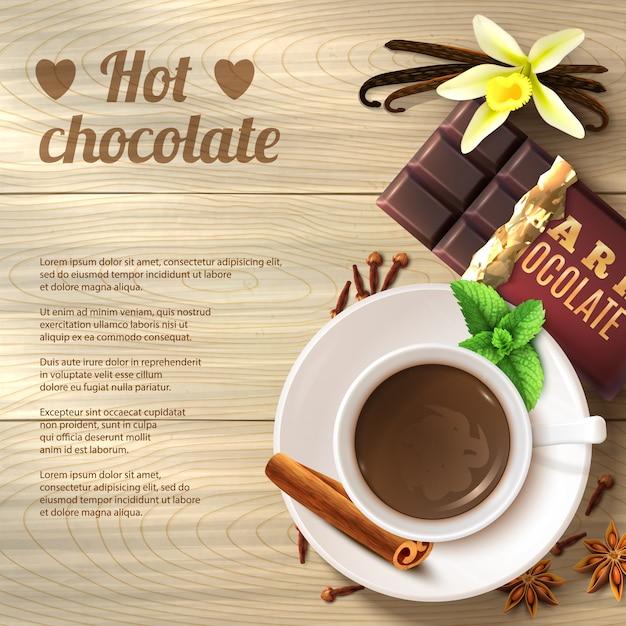 Hete chocoladeachtergrond Gratis Vector