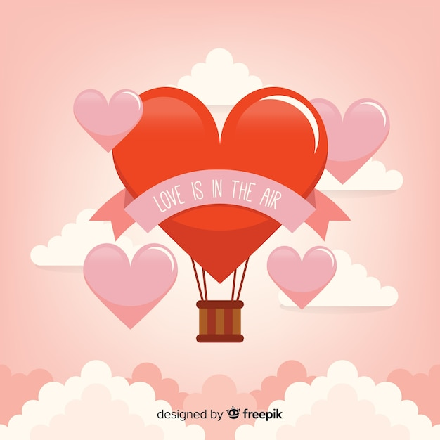 Hete lucht ballon hart achtergrond Gratis Vector