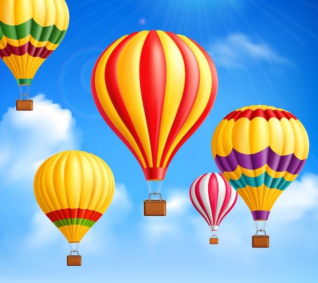Hete lucht ballonnen achtergrond Gratis Vector