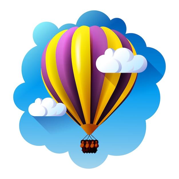 Hete luchtballon in wolken. Premium Vector