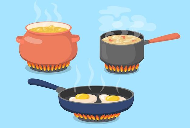 Hete pot, steelpan en pan op gasfornuis platte set Gratis Vector