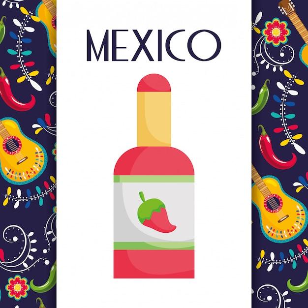 Hete saus chili peper gitaar bloemen mexicaans eten, traditionele viering ontwerp vector kaart Premium Vector