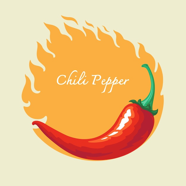 Hete spaanse peperpeper met brandachtergrond Premium Vector