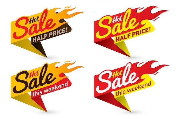 Hete verkoop prijsaanbieding deal vector etiketten sjablonen stickers ontwerpen met vlam Premium Vector
