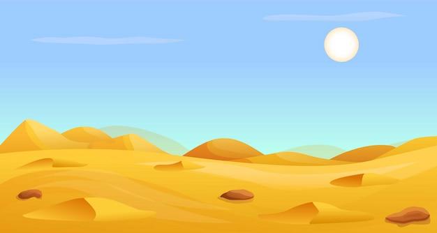 Hete woestijn panorama banner, cartoon stijl Premium Vector