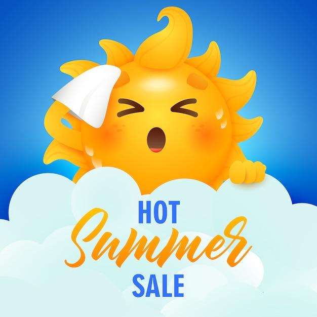 Hete zomer verkoop belettering en zon stripfiguur Gratis Vector
