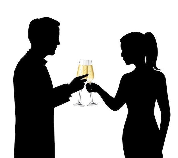 Heteroseksuele paar zwarte silhouetten die champagne en de sprekende vectorillustratie van de vieringsscène drinken Gratis Vector