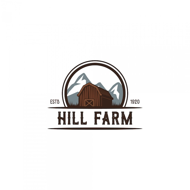 Heuvel boer vintage logo Premium Vector