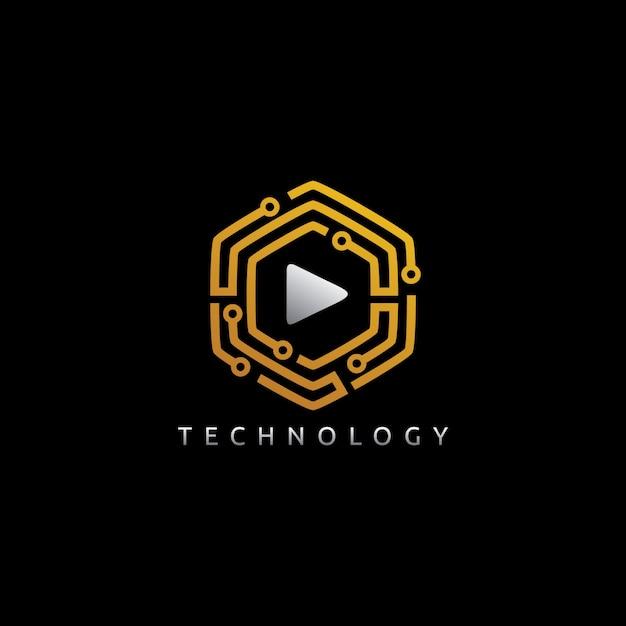 Hexagon play-logo Premium Vector