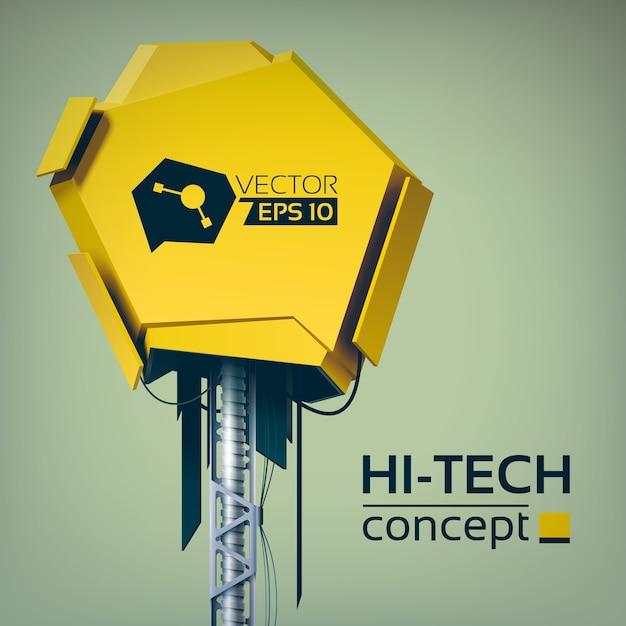 Hi-tech ontwerpconcept met geel 3d-object op metalen constructie in futuristische stijl Gratis Vector