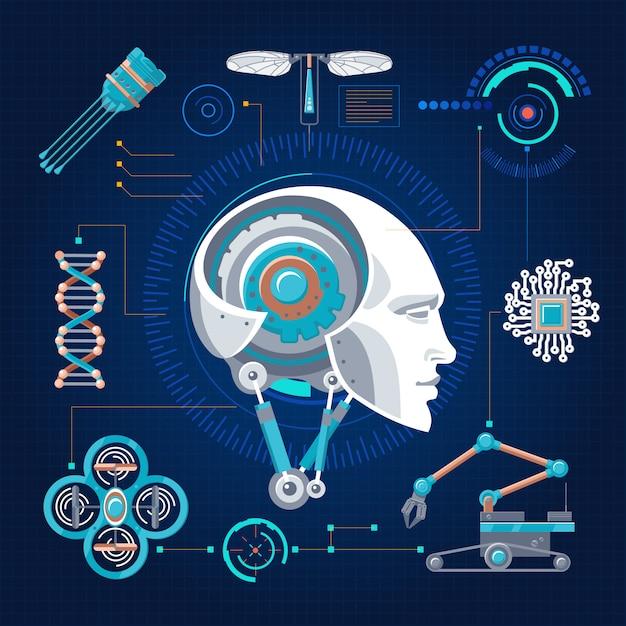 Hi-tech technologieconcept Gratis Vector