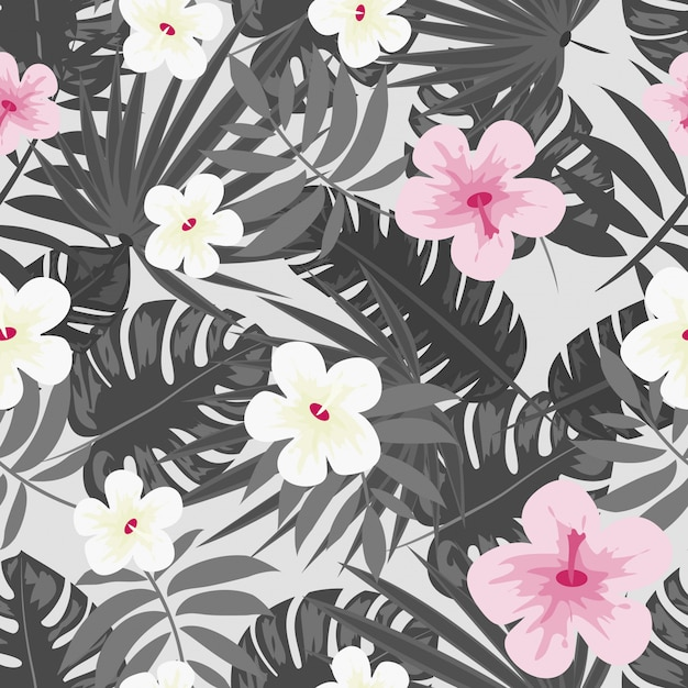 Hibiscus bloemen monstera laat bloemenprint voor stof vector naadloos patroon Premium Vector
