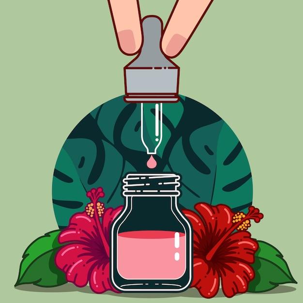 Hibiscusbloem voor gezonde en cosmetische producten Premium Vector