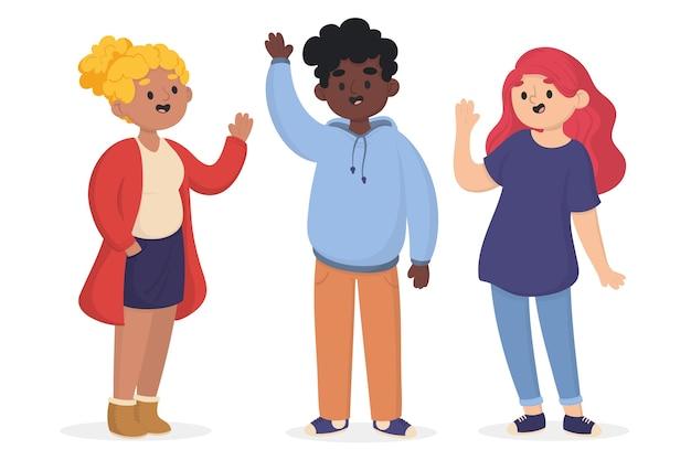 High-five voor succesvolle mensen Gratis Vector