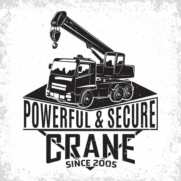 Hijswerklogo, embleem van kraanmachineverhuurorganisatie, afdrukstempels, bouwapparatuur, typografisch embleem van de zware kraanmachine, Premium Vector