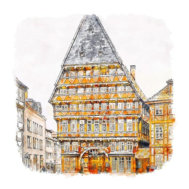 Hildesheim duitsland aquarel schets hand getrokken illustratie Premium Vector