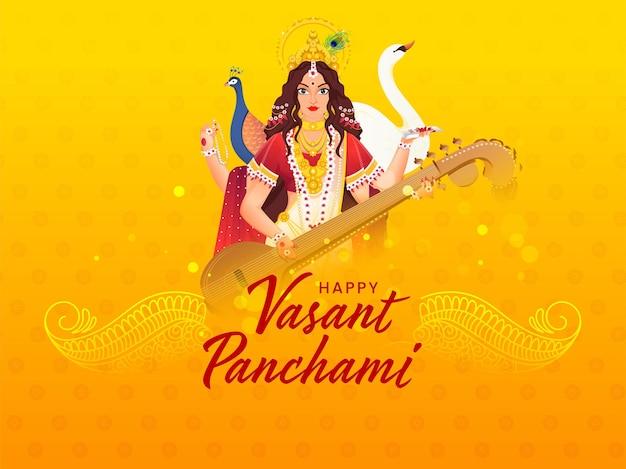 Hindi tekst beste wensen van vasant panchami met mooie godin saraswati-personage, zwaan en pauwvogel Premium Vector