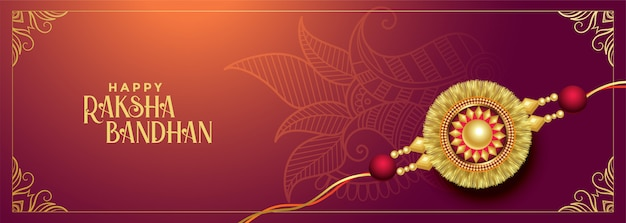 Hindoe traditionele raksha bandhan festival banner Gratis Vector