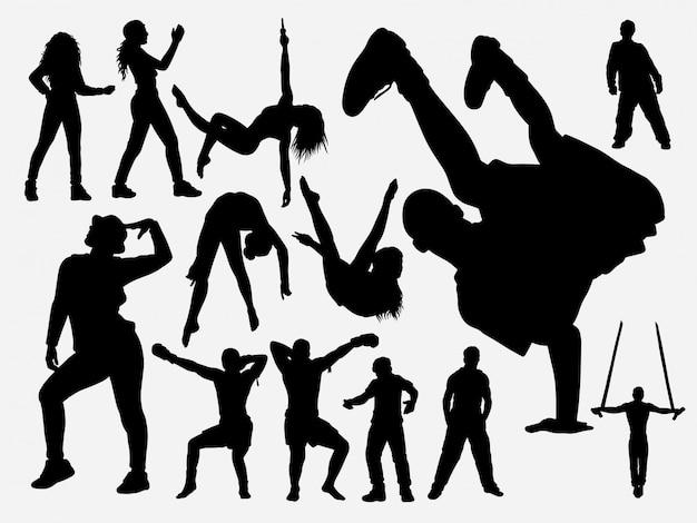 Hiphop en acrobaat danssilhouet Premium Vector
