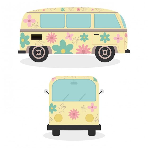 Hippie busjes met voertuigen met bloemenprint Premium Vector