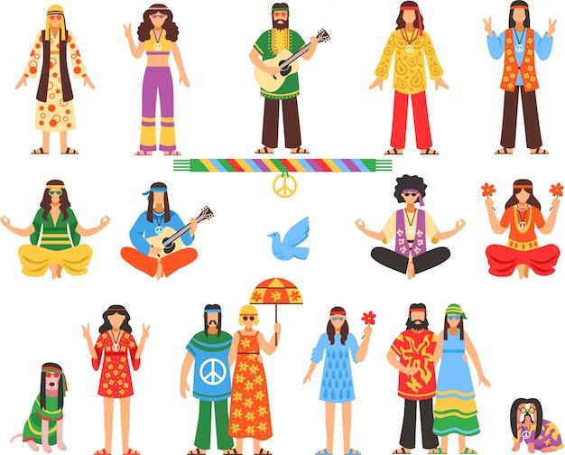 Hippie decoratieve pictogrammen instellen Gratis Vector