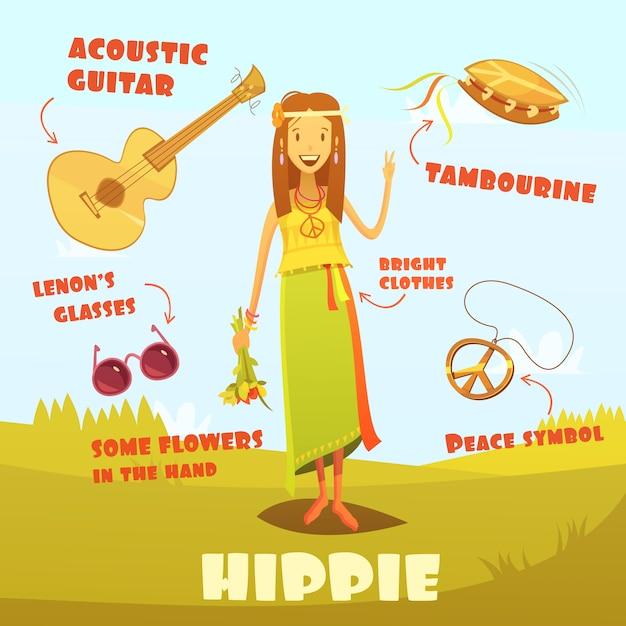 Hippie karakter illustratie Gratis Vector